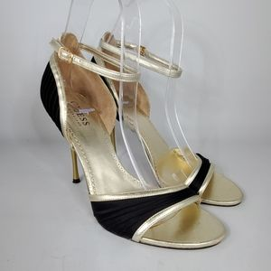 GUESS Black Satin & Gold Open Toe Heels